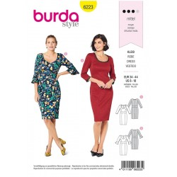 Patron Burda 6223 Robe Avec Un Parement de Taille - Deux Formes D'encolure