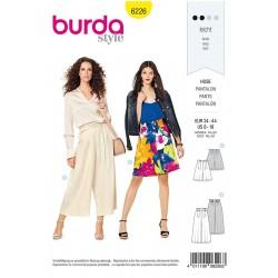 Patron Burda 6226 Bermuda - Pantalon Façon Jupe-culotte - Plis de Ceinture