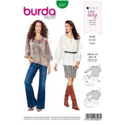 Patron Burda 6227 Blouse - Blouse Carmen - Coulisse à Ruban