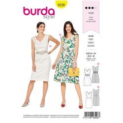 Patron Burda 6228 Robe Avec Smock Elastique - Robe Fourreau - Encolure En V