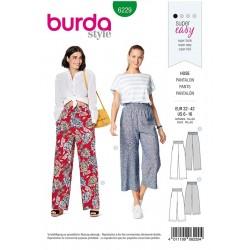 Patron Burda 6229 Pantalon à Coulisse Elastiquée avec des Poches dans les Coutures