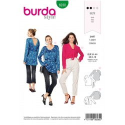 Patron Burda 6230 Blouse Façon Tee-shirt - Encolure En V