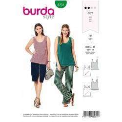 Patron Burda 6231 Top Avec une Encolure Ronde - En Simple ou Double Epaisseur