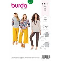 Patron Burda 6233 Tee-shirt - Parement D'encolure Fronce - Manches 3/4