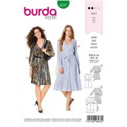 Patron Burda 6237 Robe A Fermeture Boutonnee - Style Chemisier - Encolure En V