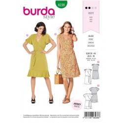 Patron Burda 6238 Robe - Robe Portefeuille - Epaules Froncées