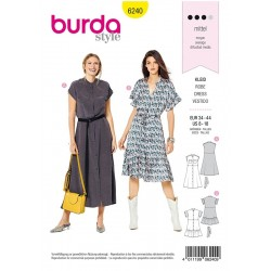 Patron Burda 6240 Robe A Fermeture Boutonnee - Col Droit - Ruches
