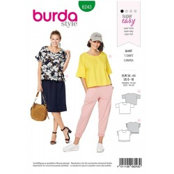 Patron Burda 6243 Tee-shirt - Encolure Ronde - Forme Carrée - Ruches