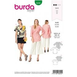 Patron Burda 6245 Blouse - Tunique - Encolure En V - Fermeture Boutonnee Au Dos