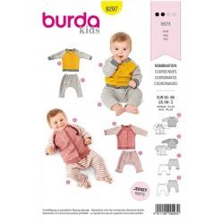 Patron Burda 9297 Baby Veste Sweat-shirt - Veste Manche Raglan A Col Droit - Pan