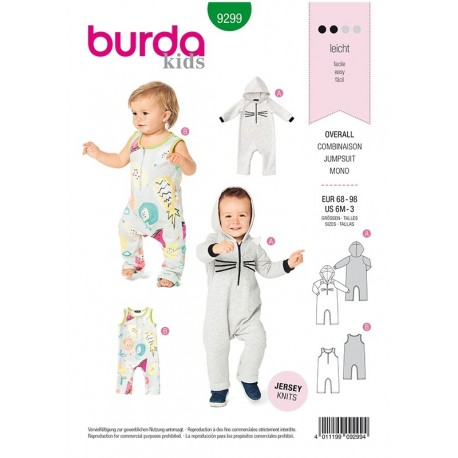 Patron Burda 9299 Baby Combinaison - A Capuche - Avec Ou Sans Manches - Fermetur