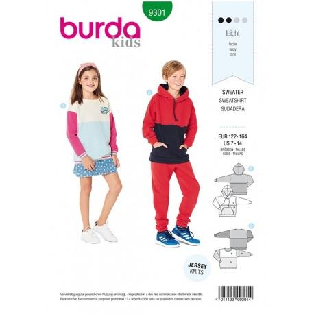 Patron Burda 9301 Kids Sweat-shirt - Hoodie - Tee-shirt A Capuche
