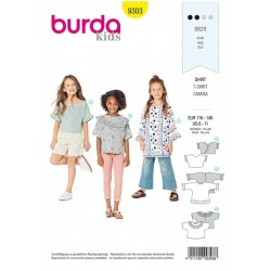 Patron Burda 9303 Kids Tee-shirt A Manches Integrees - Tunique