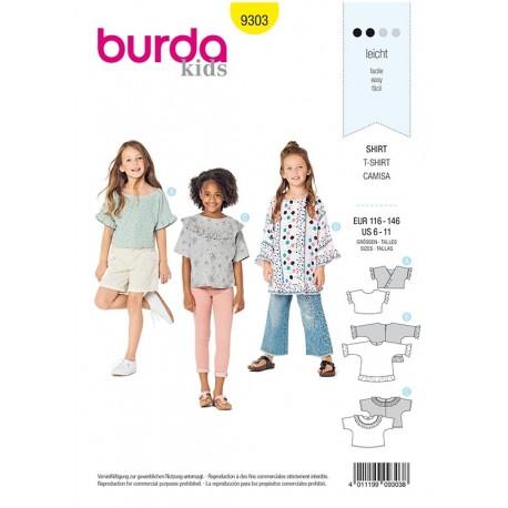 Patron Burda 9303 Kids Tee-shirt A Manches Integrees - Tunique