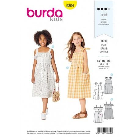 Patron Burda 9304 Kids Robe à Bretelles Boutonnee à L'avant - Jupe Froncée