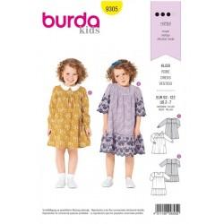 Patron Burda 9305 Kids Robe Avec Empiecement - Col Claudine - Ruche D'ourlet