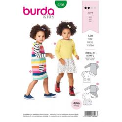 Patron Burda 9296 Baby Robe Facon Tee-shirt Avec Des Poches - Robe A Jupe Fronce