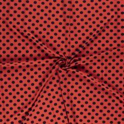 Tissu Imprimé Gros Pois Fond Saumon