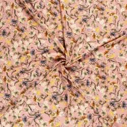 Tissu Jersey Imprimé Fleur Rose