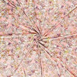 Tissu Jersey Imprimé Fleur Fond Rose