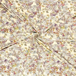 Tissu Jersey Imprimé Fleur Fond Jaune