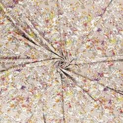 Tissu Jersey Imprimé Fleur Fond Sable