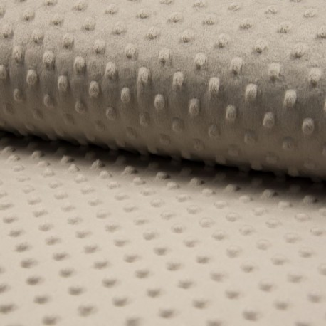 Tissu Bubble Minky Uni Taupe