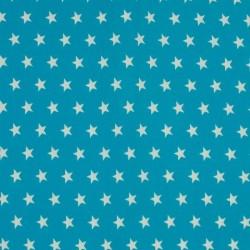 Tissu Coton Imprimé Etoile Turquoise