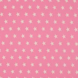 Tissu Coton Imprimé Etoile Rose