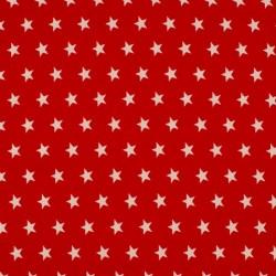Tissu Coton Imprimé Etoile Rouge
