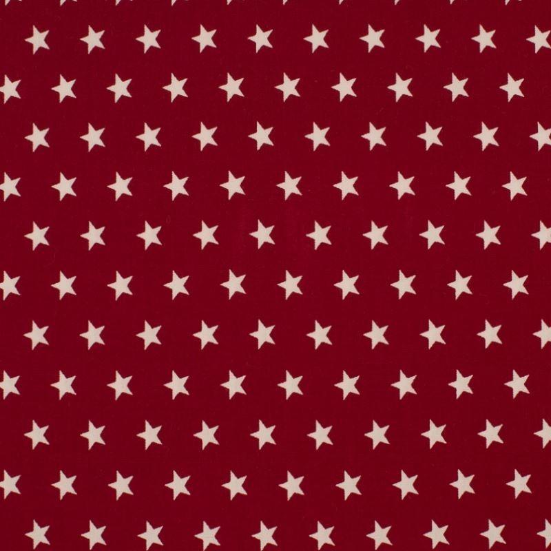 Tissu Coton Imprimé Etoile Bordeaux