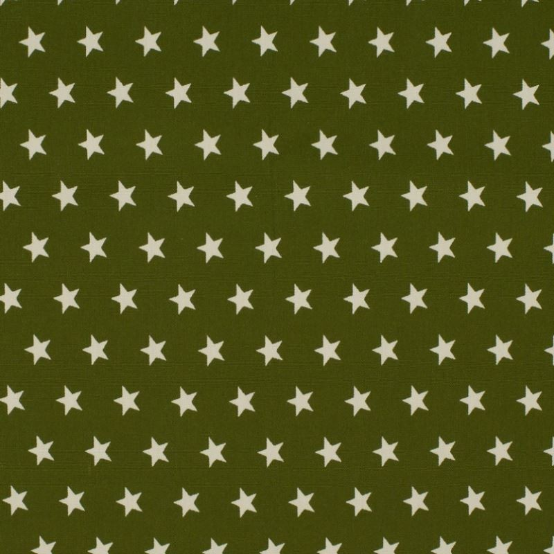 Tissu Coton Imprimé Etoile Kaki