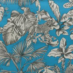 Tissu Mowgli Toile Imprimée Bleu Paon