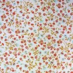Tissu Cretonne Elenie Imprime Rouge celadon