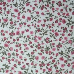 Tissu Cretonne Elenie Imprime Vieux Rose