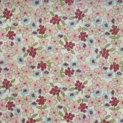 Coupon Tissu Cretonne Lilas Imprime Menthe rose 100 x 150 cm