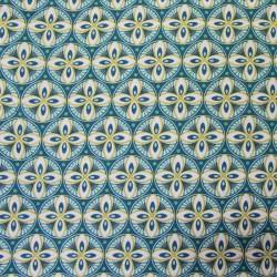 Tissu Cretonne Livy Imprime Paon moutarde