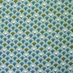 Tissu Cretonne Muji Imprime Celadon paon