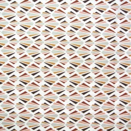 Coupon Tissu Cretonne Payani Imprime Marsala brique 100 x 150 cm