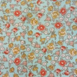 Tissu Cretonne Sarina Imprime Celadon peche