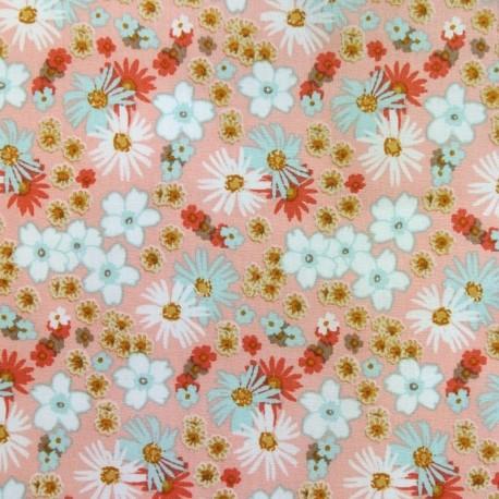 Coupon Tissu Cretonne Zinia Imprime Peche celadon 100 x 150 cm