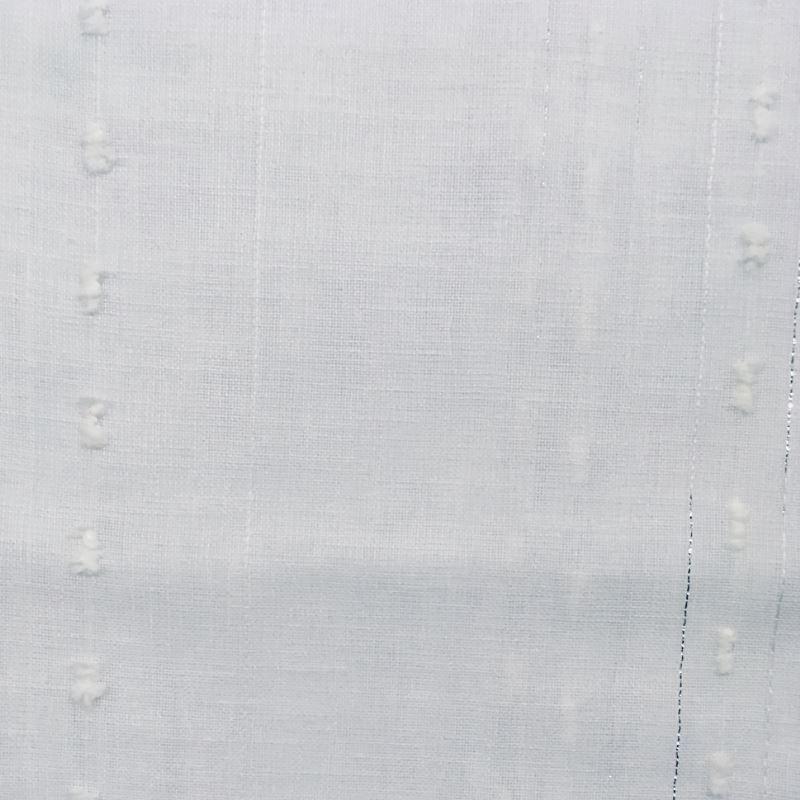 Tissu Toile Rayures Pompons Blanc