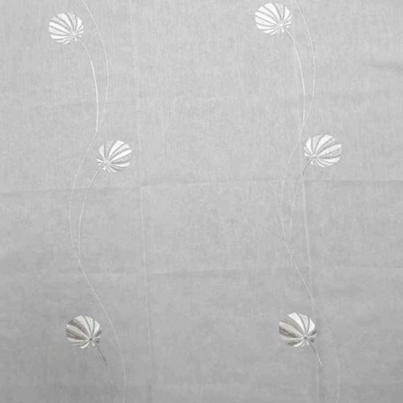 Tissu Ballons Voile Broderies Blanc Gris