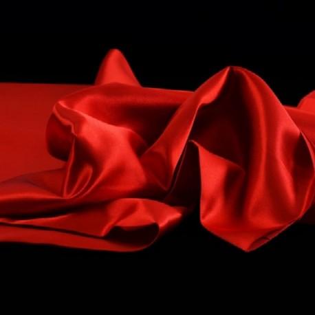 Tissu Satin Uni Rouge L150