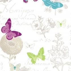 Tissu Butterfly Enduit Blanc L155