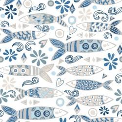 Tissu Sarran Cretonne Bleu L140