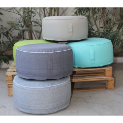 Pouf Gonflable Antibes Blanc Noir 55x25