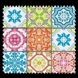 Tissu Lisbonne carreaux Cretonne Enduit Multicolore