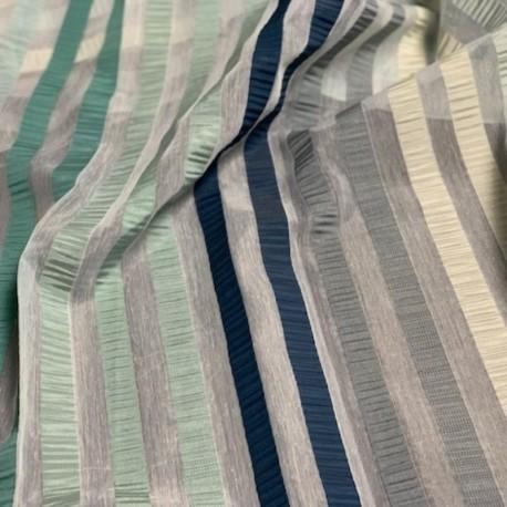 Tissu Summer Rayures Bleu Gris Beige