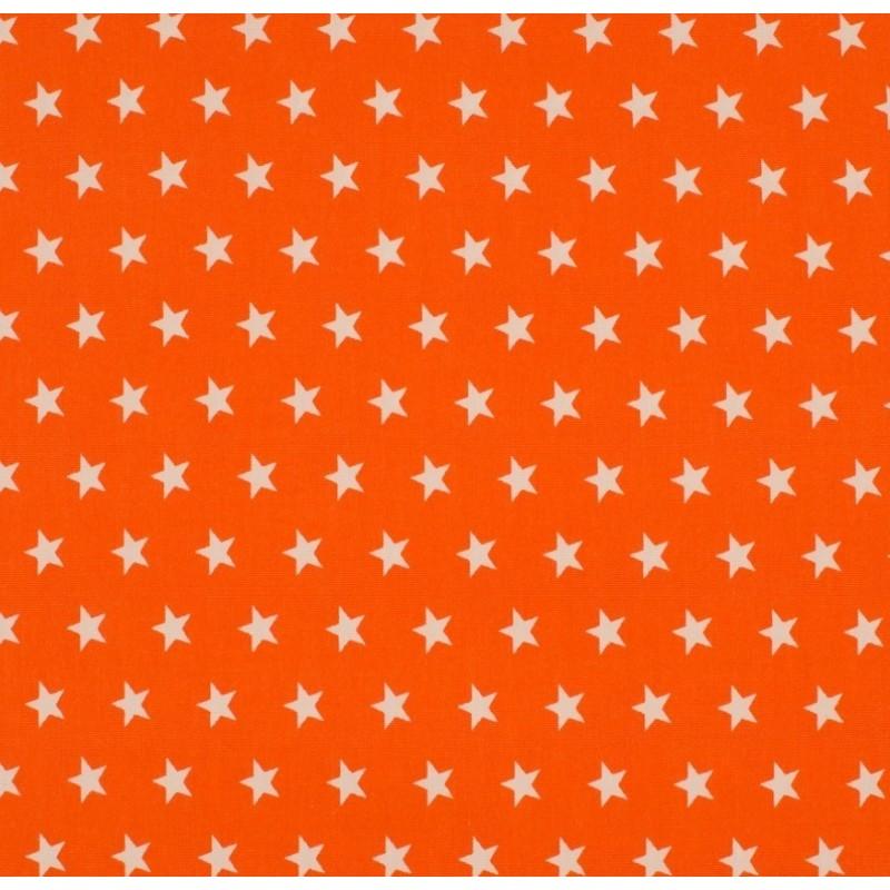 Tissu Coton Imprimé Etoile Orange